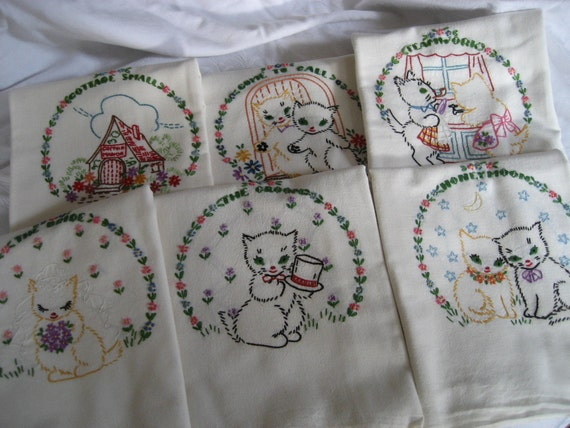 Set of 6 VINTAGE Newlywed Large Kitten Embroidered Sack Cloth Dish Towels