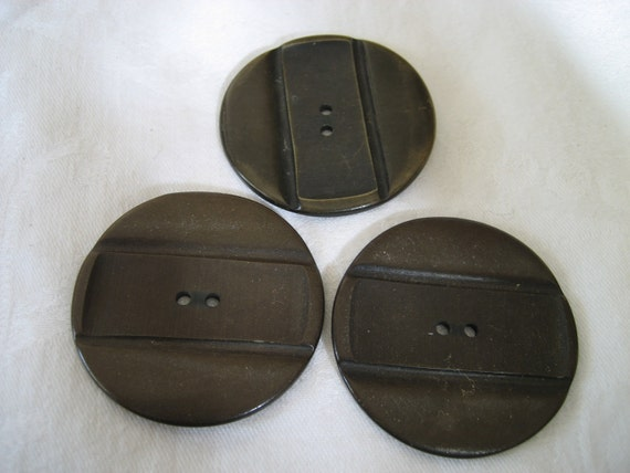 Set of 3 Large VINTAGE Carved Brown Plastic BUTTONS