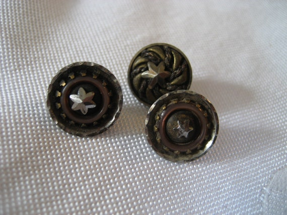 Lot of 3 ANTIQUE Cut Steel Star in Steel Cup Metal BUTTONS