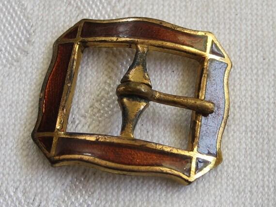 Small VINTAGE Brown Enamel Metal Belt Buckle