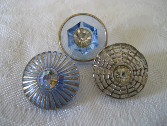 Lot of 3 VINTAGE Rhinestone Center Glass BUTTONS