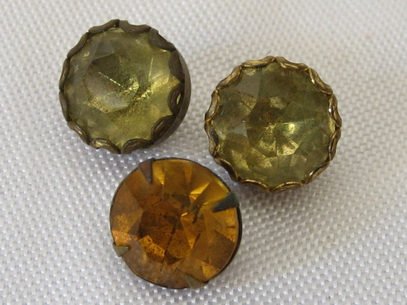 reserve for Viktoria Lot of 3 VINTAGE Yellow & Amber Rhinestone BUTTONS