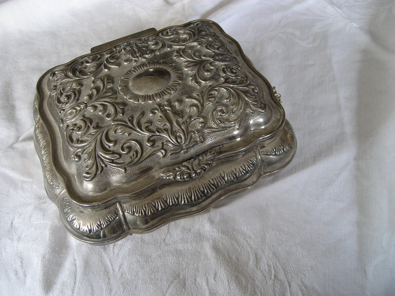 Heavy VINTAGE Large Silver Jewelry Box