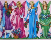Lovely Colorful Angels Christmas Victorian Paper Scrap