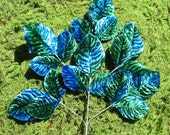 Vintage Millinery Soft Shaded Deep Blue and Green Velvet Leaf Spray