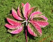Vintage Millinery Velvet Leaves Green and Pink One Dozen