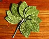 Vintage Millinery Velvet Leaves Green One Dozen Hatmaking Ornaments