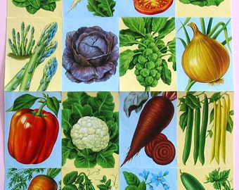Double Sheet Vegetables Victorian Scrap Out of Print