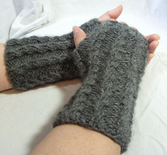 Fingerless Gloves - Gray -Mock Cables -Shiny Mohair Look
