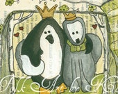 Penguin and Grey Fox in Love       Custom Order for Heather