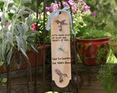 Hand Painted Tuscan Decor Home and Garden Accent Hummingbird and Dragonfly Door or Wall Hanger With Wings Spun of Silver