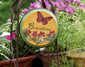 RESERVED FOR JAMIE Decorative Tuscan Hand Painted Wall Accent Butterfly and Flowers Italian Sign Giardino GARDEN