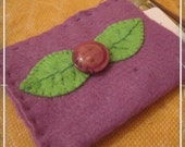 Felt purple flower gift card or business card holder, pocket, pouch