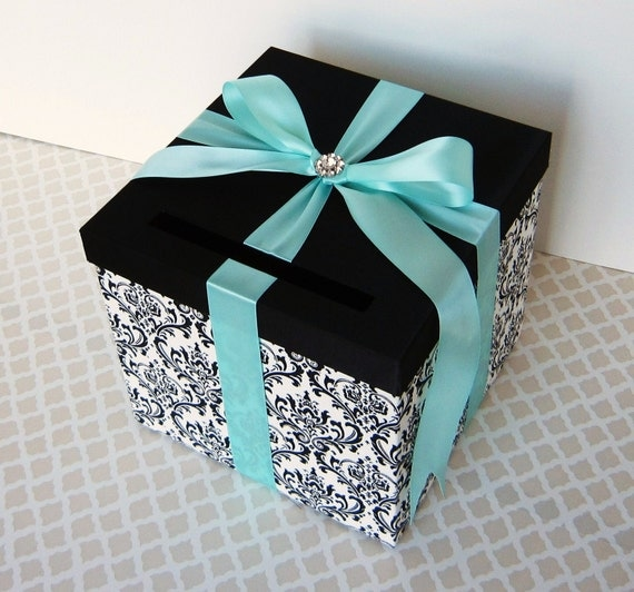 Tiffany Blue And Black Wedding Ideas: Wedding Card Box Damask Black White Tiffany Blue Money Holder