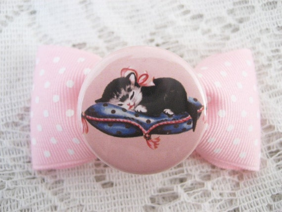 SLEEPY KITTEN GROSGRAIN BOW