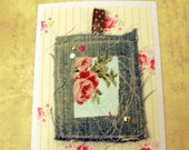 Greetings card - embroidered denim and floral fabric