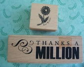 Two Stamps Thanks A Million And A Small Best Wishes With A Daisey Style Flower.