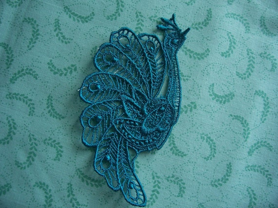 Teal Blue Lace Applique Peacock/ Crazy quilt/ Venice Lace/Jewelery/ Earrings