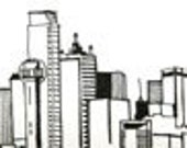 Line Drawing of Dallas Skyline