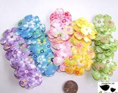 50 Floral Print Flower Padded Appliques