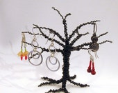RESERVED - Swap item for Lindecise - Black Earring Treehouse / Wire Sculpture / Ornament