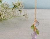 Amethyst Peridot Necklace Purple & Green Brios on Gold Chain