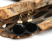 Black and Gold - Onyx Coins Earrings