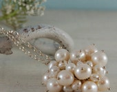 "White Freshwater Pearls Necklace ""cluster bomb"" necklace"