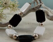 Black and White Bracelet Agate .925 Sterling Silver