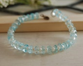Aquamarine Bracelet with freshwater pearls Sterling Silver