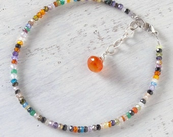 Colorful Zircon Bracelet Carnelian Sterling Silver