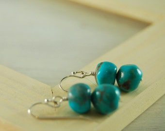 """Turquoise Earrings Sleeping Beauty Turquoise Sterling Silver """"Sanna"""""""