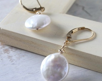 "Coin Pearl Earrings ""Pamela"""