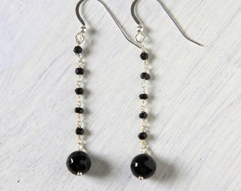 "Long Black Onyx Earrings ""Roxy"" Rosary Style Chain"