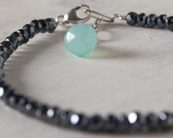Black Spinel Bracelet Aqua Chalcedony .925 Sterling Silver