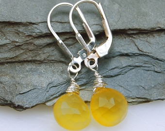 Yellow Chalcedony Earrings Sterling Silver