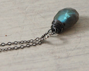 Firey Labradorite Necklace Oxidized Sterling Silver Chain