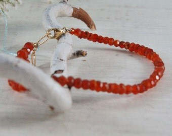 Dainty Orange Carnelian Bracelet Orange tennis bracelet