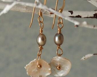 Keishi Pearl Earrings Freshwater Pearls Gold Filled