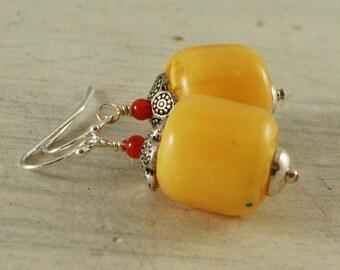Copal Amber Coral Earrings Yellow Earrings Sterling Silver