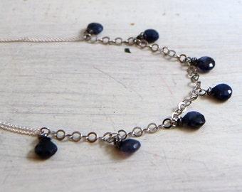 Blue Labradorite Necklace Sterling Silver Chain
