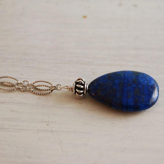 Lapis Lazuli Necklace Antique Silver Chain teardrop