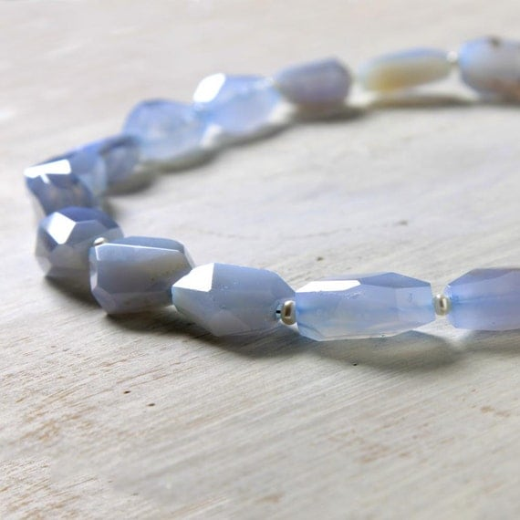 "SALE Blue Chalcedony Quartz Necklace ""Liz"" Chunky Choker .925 Sterling Silver"
