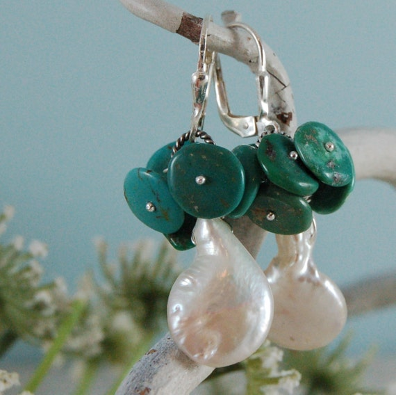 Green Turquoise Freshwater Pearl Earrings Sterling Silver