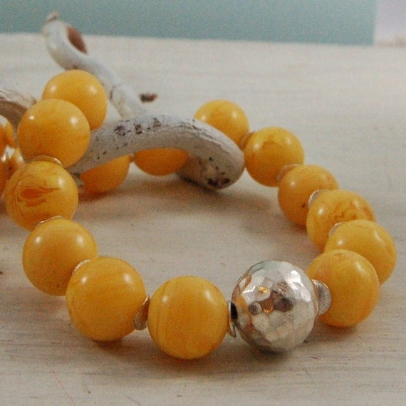 Copal Amber Necklace Yellow Necklace Sterling Silver