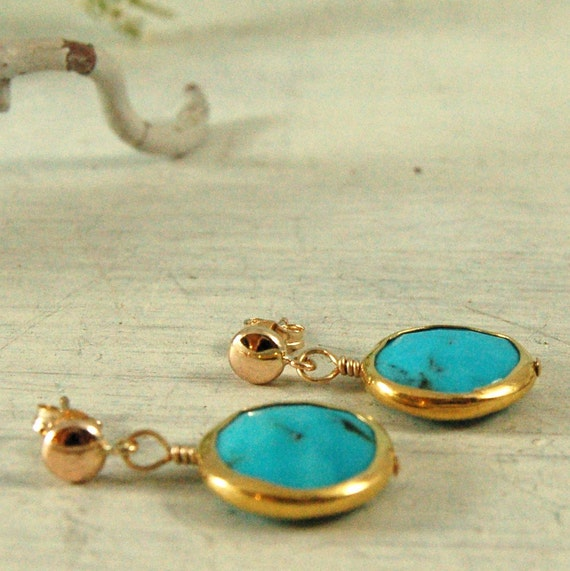 Bezel set Blue Turquoise Earrings 14 kt gold Earrings