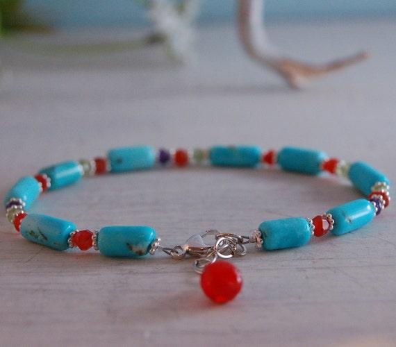 Gemstone Bracelet Sleeping Beauty Turquoise Carnelian Silver