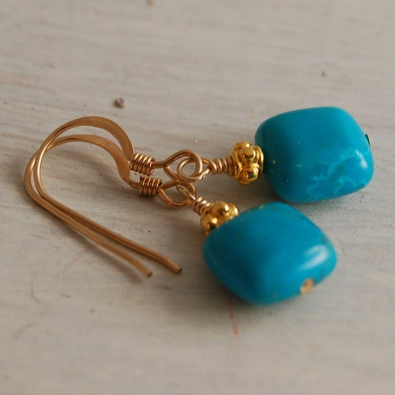Turquoise Gold Earrings Sleeping Beauty Turquoise