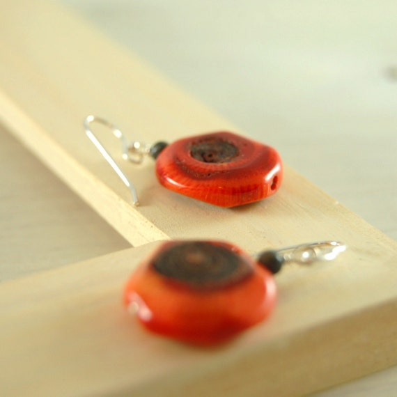 "Red Coral Earrings ""Rachel"" Sterling Silver"