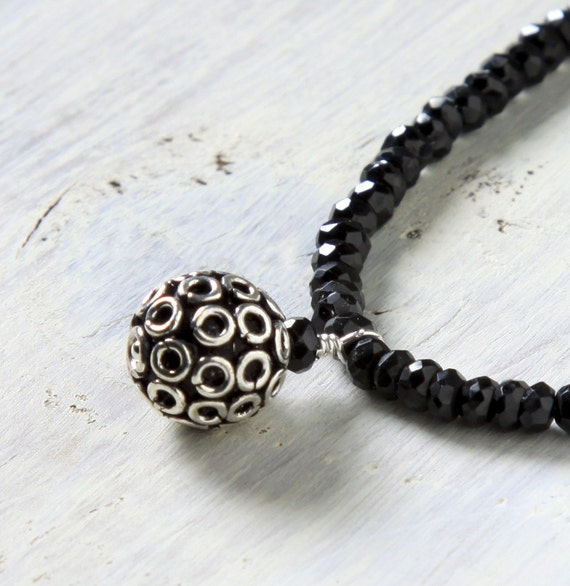 SALE Sweetie Girl Necklace, Black Spinel, .925 Bali Sterling Silver